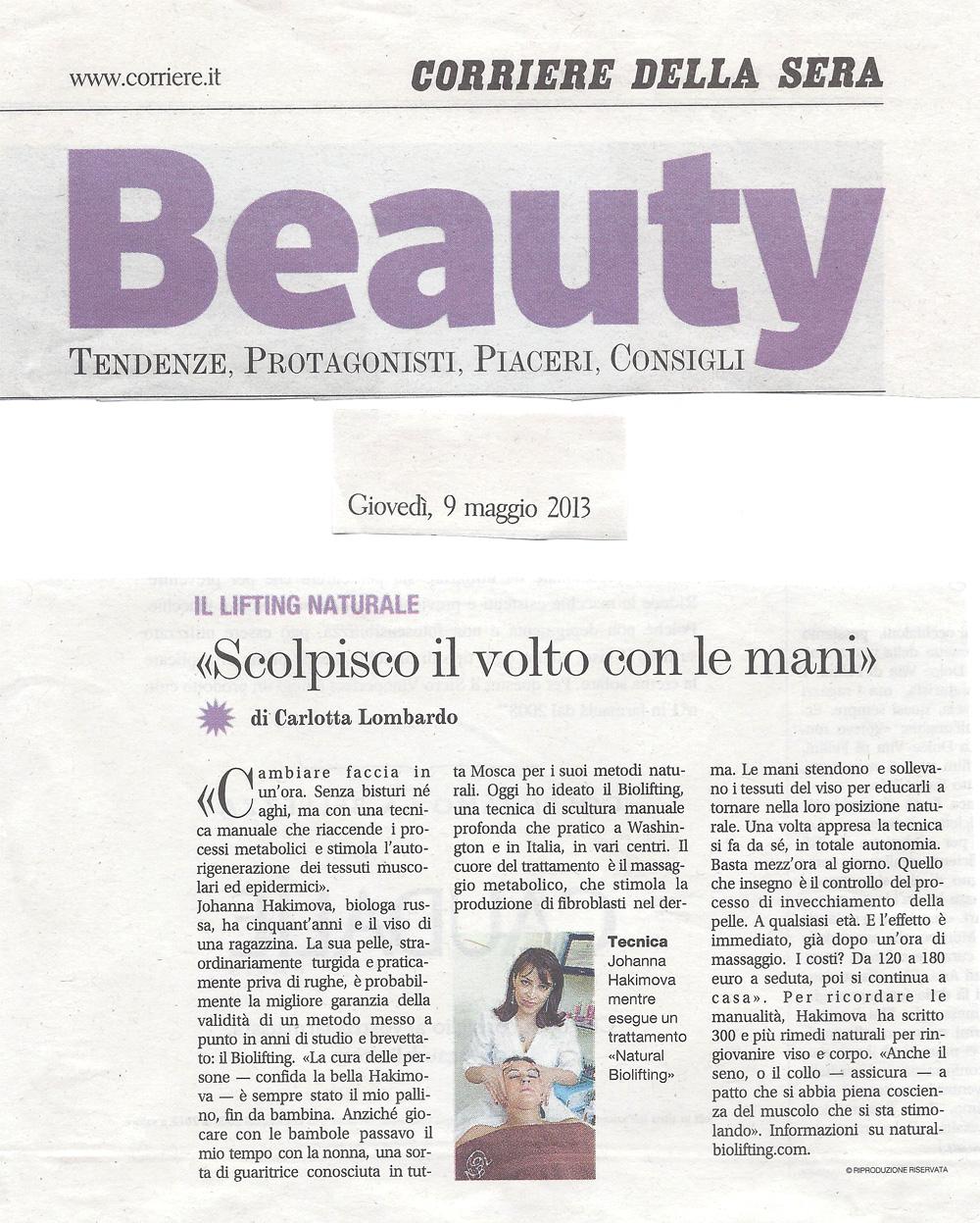 Corriere della Sera, rubrica Beauty